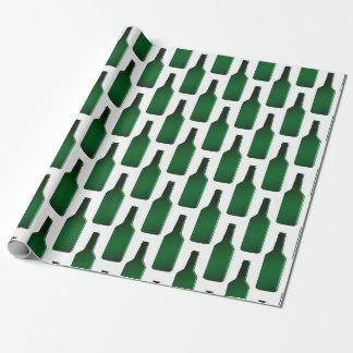Rolig grön helgdag för ölflaskamönsterjul presentpapper