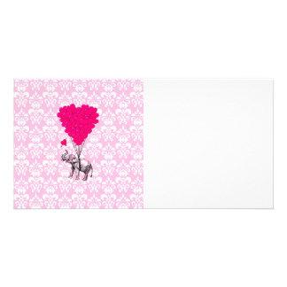 Rolig gullig elefant & rosadamast fotokort