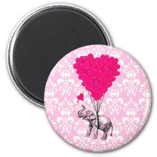 Rolig gullig elefant & rosadamast magnet