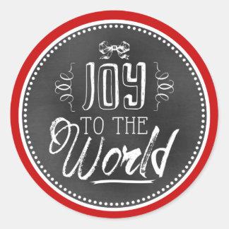 Rolig gullig glädje till världsblackboarden runt klistermärke