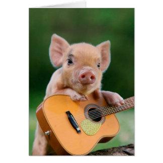 Rolig gullig gris som leker gitarren OBS kort