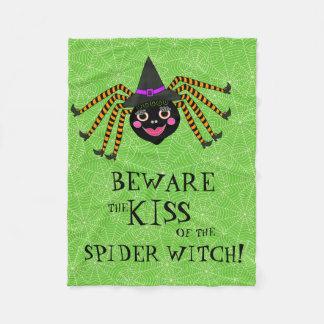 Rolig Halloween spindelhäxa Fleecefilt