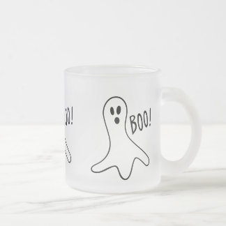 rolig halloween spöken som ropar bu! frostad glas mugg