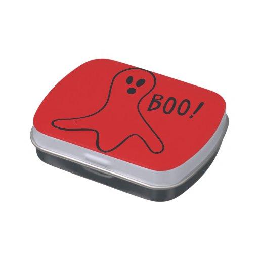 rolig halloween spöken som ropar bu! godisburkar