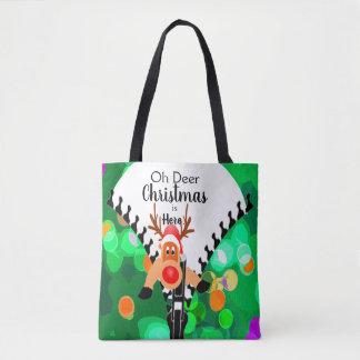 Rolig hälsning för Christmas|Holiday i grönt'Oh Tygkasse