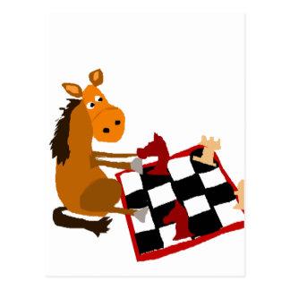 Rolig häst som leker schackkonstoriginal vykort