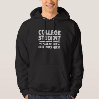 Rolig högskolestudent inga liv eller pengar munkjacka