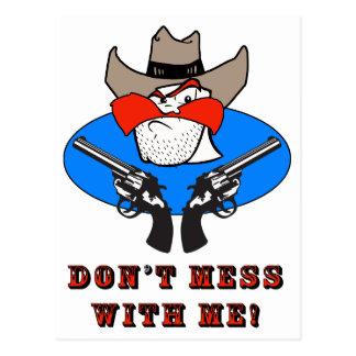 Rolig humorillustration för tokig Cowboy Vykort