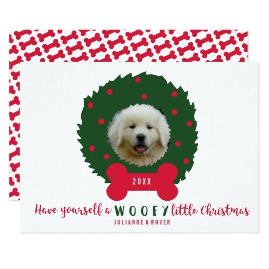 Rolig hund älskare julkran ditt hundfoto 12,7 x 17,8 cm inbjudningskort