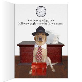 Rolig hund anpassade labbstudenten hälsnings kort