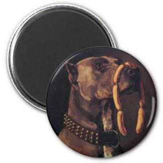 Rolig hund målning magnet rund 5.7 cm