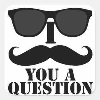 Rolig I-Moustache dig solglasögon för en Fyrkantigt Klistermärke