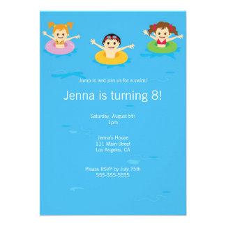 Rolig inbjudan för födelsedag för barnbassängparty