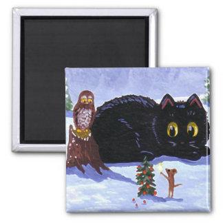 Rolig jul Creationarts för kattmusuggla Magnet