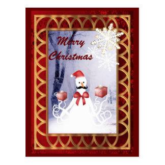 Rolig jul för bläckfisksnögubbejultomten vykort