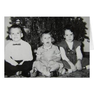 Rolig jul för vintagebarn hälsningskort