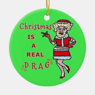 Rolig julBah Humbug Santa i friktion Julgransprydnad Keramik