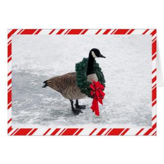Rolig julgås med kranen hälsningskort