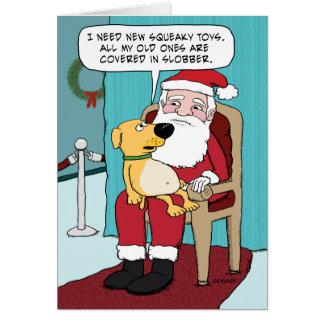 Rolig julkort: Hund och Santa Hälsningskort