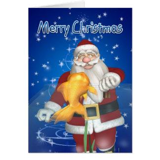 Rolig julkort - Santa ge gåva till den älsklings- Hälsningskort