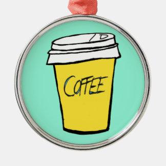 rolig julprydnad för kaffe rund silverfärgad julgransprydnad