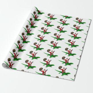 Rolig jultomten som rider den coolt gröna ödlan presentpapper