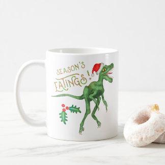 Rolig julVelociraptorDinosaur Eatings Kaffemugg