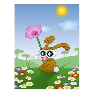 Rolig kaninsitta i gräs vykort