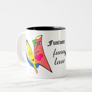 rolig kärlek för funtoos Två-Tonad mugg
