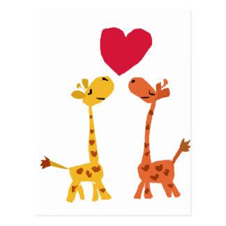 Rolig kärlektecknad för giraff VW Vykort