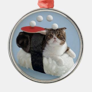 Rolig katt julgransprydnad metall