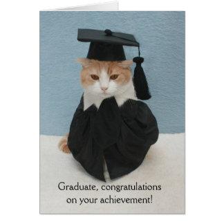 Rolig kattstudenten hälsningskort