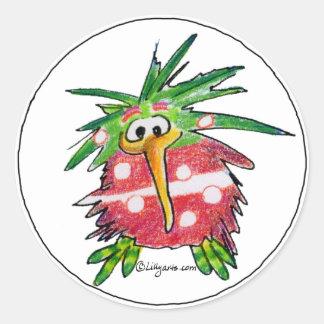 Rolig klistermärke för runda för tecknadKiwifågel