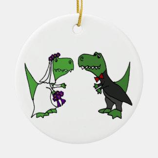 Rolig konst för T-rex Dinosaurbrud och Julgransprydnad Keramik