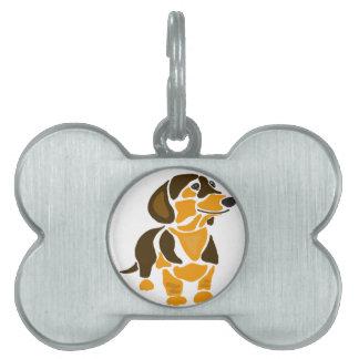 Rolig konstnärlig taxhundkonst namnbricka husdjur