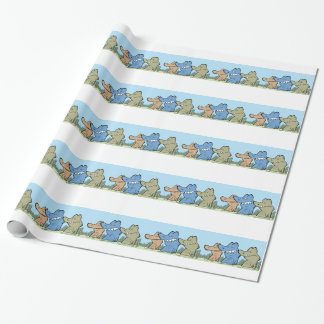 Rolig krokodiltecknad som slår in papper presentpapper