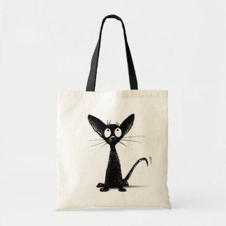 Rolig lite svart orientalisk katt tygkasse