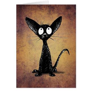 Rolig lite svart orientalisk kattkonst hälsningskort