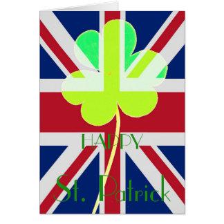 Rolig lycklig flagga för St Patrick irländsk Hälsningskort