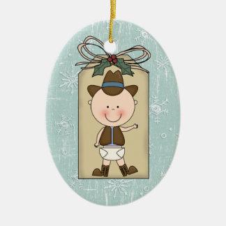 Rolig märkre för gåva för Cowboy för Julgransprydnad Keramik