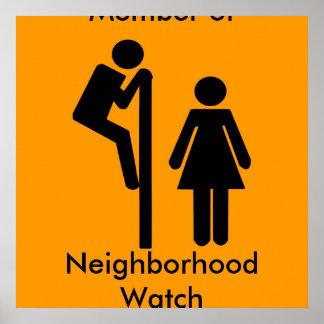 Rolig medlem av affischer för grannskapklockasäker