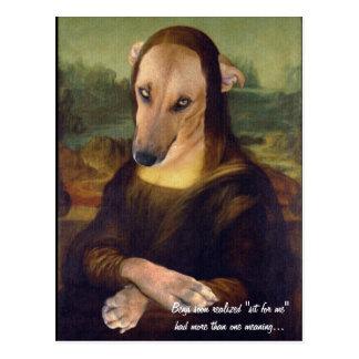 Rolig Mona Lisa hundMeme bild Vykort