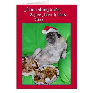 Rolig mops 12 dagar av julkortet vid opalakea hälsningskort