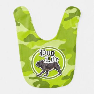Rolig mops; ljust - grön camo, kamouflage hakklapp