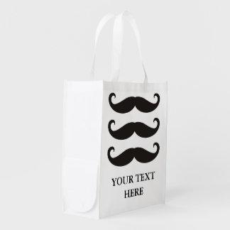Rolig Moustache/Schnurrbart + din text Återanvändbar Påse