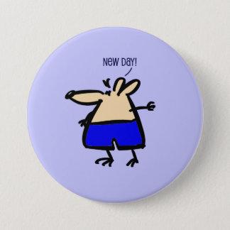 Rolig mus för ny dag på emblem för blått b/g mellanstor knapp rund 7.6 cm