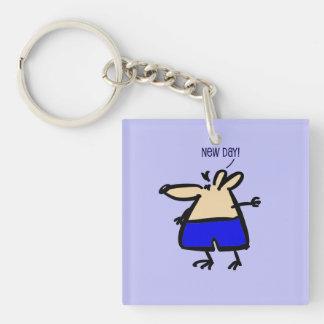 Rolig mus för ny dag på nyckelringen för blått b/g