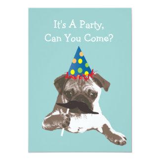Rolig mustaschmopsfödelsedagsfest inbjudan
