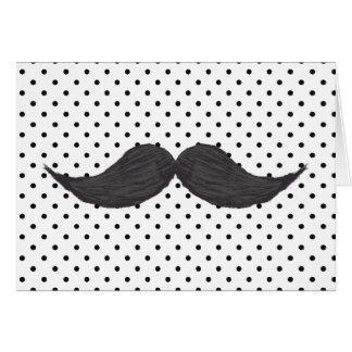 Rolig mustaschteckning- och svartpolka dots kort