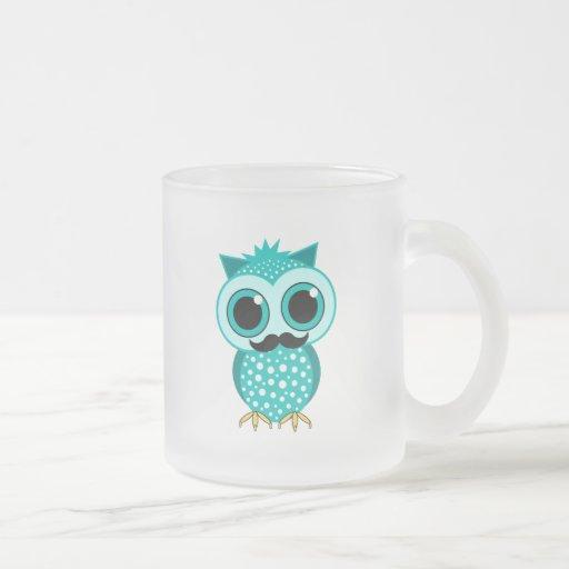 rolig mustaschuggla kaffe mugg